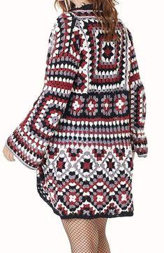 21 Ideas Crochet Dress Adult Granny Squares For 2019 – Granny Square Cardigans Crochet, Crochet Baby Pants, Crochet Baby Bonnet, Crochet Jacket, Crochet Cardigan, Crochet Clothes, Crochet Squares, Crochet Granny, Knit Crochet