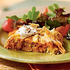 Chicken Tamale Casserole | MyRecipes.com  So good and easy.  Easy stuff to stock in the pantry or freezer.  I use black beans for part of the chicken, and also bake it in a little smaller (8x10) dish to make the cornbread layer thicker.  Serve with shredded lettuce, chopped tomatoes, green onions, salsa, and sour cream on top, and you have a whole plate full o' food!!