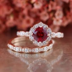 Bridal Set Vintage Floral Ruby Engagement Ring and Scalloped Diamond Wedding Band in 14k Rose Gold 6x6mm Cultured Red Ruby July Birthstone