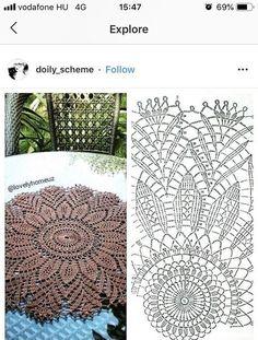 Crochet Doily Rug, Crochet Doily Diagram, Crochet Carpet, Crochet Mandala Pattern, Crochet Tablecloth, Crochet Stitches Patterns, Crochet Home, Thread Crochet, Crochet Flowers