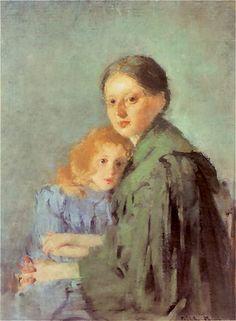 Kobieta z dziewczynka   Olga Boznańska