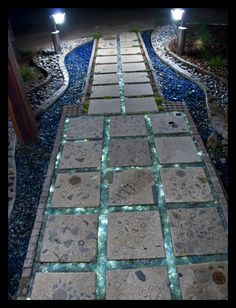 entryway at night.. home-made stepping stones, recycled, tumbled glass, fiber-optic lighting