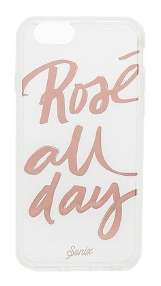 'Rosé All Day' lettering lends playful detail to this Sonix iPhone case. Shock absorbent rubber sides. Formfitting construction with button, cord, and camera cutouts.  Fits iPhone 6 & iPhone 6s. Imported, China.