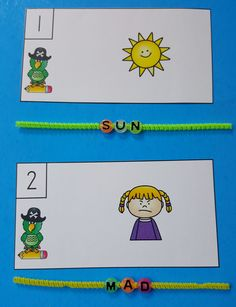 Your little pirates thread lettered beads on pipe cleaners to spell CVC words! Great for Morning Tubs, Early Finishers, Literacy Centers, and Informal Assessment!   $ #pirates  #cvc #CVCwords  #phonics #kampkindergarten #literacycenters  #morningtubs  https://www.teacherspayteachers.com/Product/Pirate-CVC-Spell-the-Room-3241206