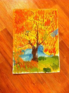 Как нарисовать осеннее дерево поэтапно для детей 5-7 лет