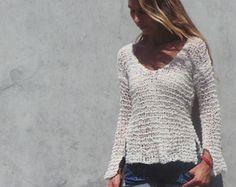 Mezcla de alpaca marfil suéter de las mujeres peso ligero v cuello suéter Ltd Edition en esta sombra