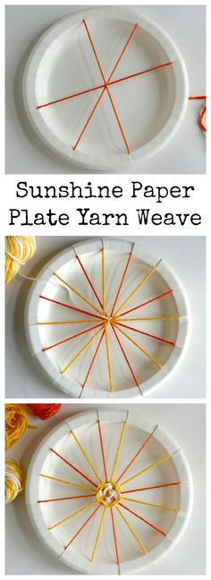 Yarn Weaving How To Sunshine Paper Plate Yarn WeaveHow To Sunshine Paper Plate Yarn Weave Creative Kids, Creative Crafts, Diy Crafts, Paper Plate Crafts, Paper Plates, Craft Activities For Kids, Projects For Kids, Yarn Crafts For Kids, Weaving For Kids