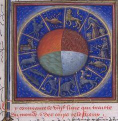 I quattro elementi e i Segni dello zodiaco  (BNF, FR 135) fol. 285, Barthélemy L'Anglais, Le Livre des Propriétés des choses, France, L'Anjou, Maine XVe s.