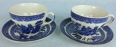 Johnson Brothers England Blue Willow Ware Tea Cups and Saucers 4 piece 2 sets