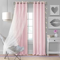 Aurora Kids Room Darkening Layered Sheer Curtain Panel - X - Soft Pink - Elrene Home Fashions : Target Kids Blackout Curtains, Kids Room Curtains, Blackout Panels, Drapes Curtains, Baby Girl Curtains, Princess Curtains, Beige Curtains, Elegant Curtains, Sheer Curtain Panels