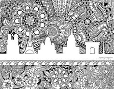 Zentangle Print, Pen and Ink Drawing, Zendoodle Art, Art Work, Art Prints, Black and White Art, Paris Skyline Coloring Page