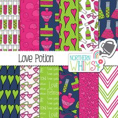 "Valentines Digital Paper - ""Love Potion"" - navy, lime, and hot pink seamless patterns - Valentine's scrapbook paper - commercial use CU OK"