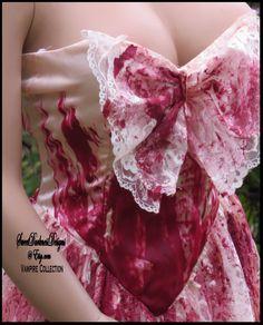 BLOODY VAMPIRE DRESS Dia de los Muertos Vampire Costume Hand Painted Devil Dress Size 3/4 Bloody Bridal Dress by SweetDarknessDesigns by SweetDarknessDesigns on Etsy