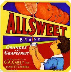 Plant City Florida Allsweet Orange Citrus Fruit Crate Label Art Print   eBay