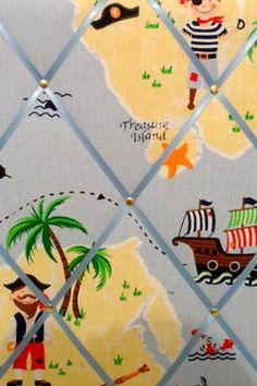 Medium Laura Ashley Pirate Treasure Island Hand Crafted Fabric Notice / Pin / Memo Board