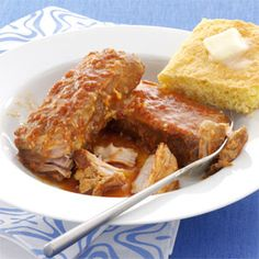 Slow Cooked BBQ Pork Ribs Recipe from Taste of Home -- shared by Annette Thompson of Woodbury, Vermont