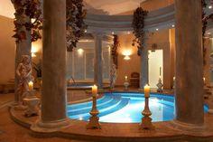 indoor pools design interior decor columns statues #pool #design #roman