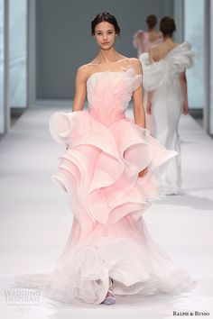 ralph and russo spring 2015 #couture collection strapless horse hair flounced peplum sheath #pink dress #fashion #runway #pinkdress