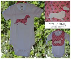 Louie's designs. Sausage dog. Molly dog. Baby sausage. Appliqué onesie.