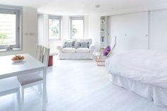 all white studio apartment design