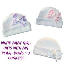 Baby Girls' White Hats with Big Pearl Bows! Adorable Newborn and Preemie Baby Girl Hats! 5 Sizes for Premature Babies, Micro Preemies and Newborn Infants to 6 Months. 100% Soft Cotton Interlock Knit. Made in the USA! By Jacqui's Preemie Pride
