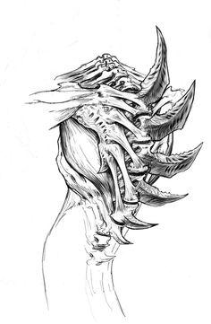 Hydralisk Spine Monster Concept Art, Alien Concept, Monster Art, Creature Concept Art, Creature Design, Starcraft, Dark Fantasy, Fantasy Art, Monster Design