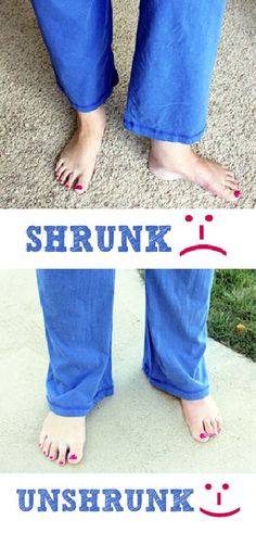 """How to """"unshrink"""" your clothes! I've saved myself a LOT of agony with this tip! :-)"""