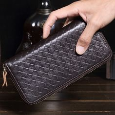 Vintage Men's Women's Genuine Leather Wallet Male Embossing Knitting Phone Clutch Man Real Leather Multi-function Purse MS9017