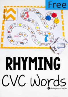 CVC Rhyming Words Board Game – The Kindergarten Connection What a fun CVC Rhyming Words board game! Great for learning word families! Rhyming Activities, Kindergarten Literacy, Phonological Awareness Activities, Preschool Learning, Therapy Activities, Toddler Activities, Teaching Reading, Free Reading, Early Reading