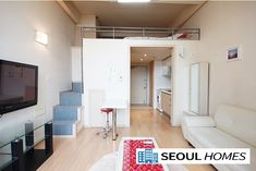 Bright and spacious fully furnished loft studio near Yeoksam stn Please see the pictures of studio! Low deposit and reasonable Rent fee Seoul Apartment, Korean Apartment, Bedroom Apartment, Apartment Living, Bedroom Loft, Apartment Ideas, Living Room, Loft Design, House Design
