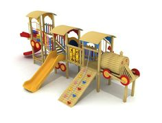 Copper 135 wooden outdoor train shaped playground 22 children All aboard! Let your children experience the fun and excitement of this wooden train shaped body playhouse.