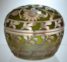 French glass silver overlay covered jar