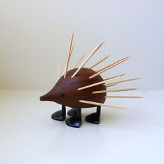 Mid Century Teak Hedgehog Porcupine Laurids Lonborg Toothpick Holder 1960's