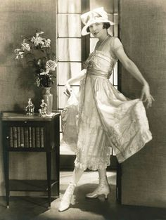 Lucile's designs were ultra feminine, imaginative and sexy for the time, typically in fragile, gauzy fabrics in multiple layers flowing from a high waist. Her clients included the dancer Irene Castle, actress Sarah Bernhardt, royalty—and eventually the cast of the Ziegfeld Follies.