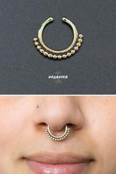 - For pierced nose Italian Brass and White Opal 16g Brass Septum 1.2mm