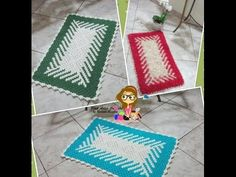 #Tapete em fio conduzido em diagonal sem Flor - Pink Artes Croche by Rosana Recchia - YouTube