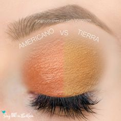 Tierra and Americano ShadowSense side by side comparison.  These long-lasting SeneGence eyeshadows help create envious eye looks.  #eyeshadow #shadowsense