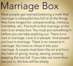 A plane small cardboard box with this long message about marriage painted with black craft paint.