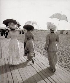 France. Deauville, Normandy, 1910s... can you imagine wearing a full dress to the beach?