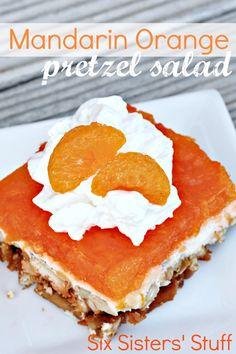 Mandarin Orange Pretzel Salad: The perfect summer dessert! Dessert Salads, Jello Recipes, Köstliche Desserts, Dessert Recipes, Fruit Salads, Salad Recipes, Recipies, Dessert Healthy, Yummy Treats