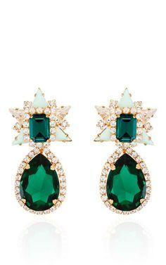 Galaxy Earrings In Mint by Shourouk for Preorder on Moda Operandi