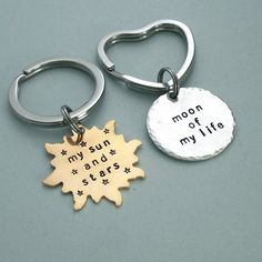 His and Hers Key Rings - Khal/Khaleesi - Game of Thrones - Hand Stamped Brass and Aluminum - Couples