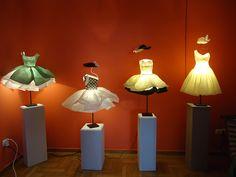 Georgia Karanika-Karaindrou ~ paper dress sculptures at Gallery Skoufa, April 2013 Decorative Lamp Shades, Paper Mache Projects, Paper Light, Creation Deco, Maya Angelou, Candle Lanterns, Wire Art, Lamp Light, Paper Art