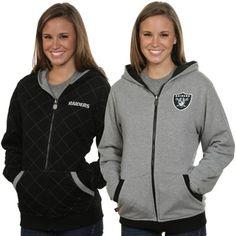 Oakland Raiders Ladies Viper Lattice Reversible Hoodie - Black/Ash