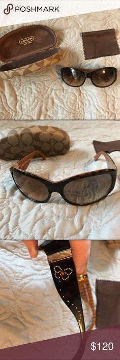 Coach Sunglasses Coach sunglasses that are lightly used and in great condition. There might be a tiny scratch here or there but I can barely find any. The sides could use some tightening. Coach Accessories Sunglasses