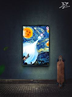 Goku Kamehameha vs Vegeta Galick Gun in Van Gogh Starry Night style