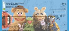 Eight dynamic designs feature group portraits of favorite characters as well as solo portraits of Kermit, Miss Piggy, Fozzie Bear, Gonzo and Animal! For added pizzazz, each check design features a colorful background with subtle line drawings of the characters.