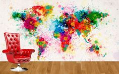 Artsy world map wall mural from Customized Walls