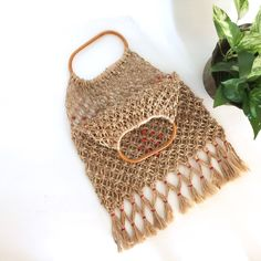 Free US Shipping Macrame Bag Fringed Jute Market Bag Bamboo Handle Tote Bag Small Tote Bag Vintage Macrame Bag Vintage Jute Tote Bag by InOldThingsWeTrust on Etsy https://www.etsy.com/au/listing/516367726/free-us-shipping-macrame-bag-fringed