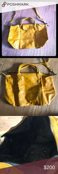 Longchamp leather Le Pliage with removable strap Yellow leather longchamp Longchamp Bags Crossbody Bags